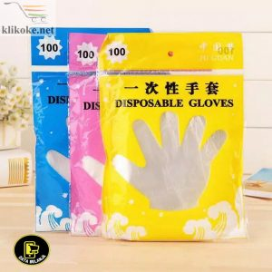 DISPOSABLE GLOVES ISI 100 PER 1 PACK SARUNG TANGAN PLASTIK SEKALI PAKAI